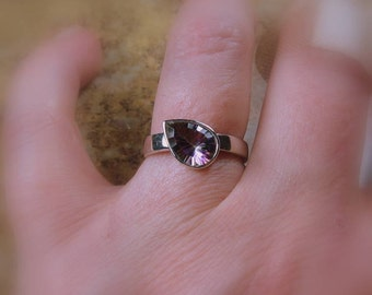 Mystic Quartz Pear Gemstone Ring, Wide Band, Sterling Ring, Ready to Ship, Size 7.25