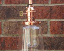 Copper Pendant Light Glass Cone Industrial Shade Round Plug In or Canopy Kit Black Brown White Red Zig Zag Houndstooth Wire