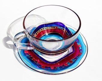 Teacup Set Arabic Cup and Saucer Set, Glass Cup