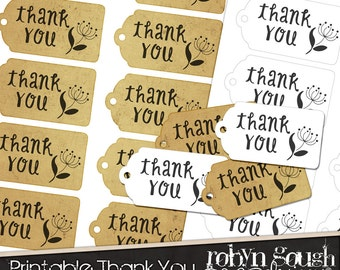 Printable Thank You Tags - Digital Gift Tags - Printable Digital Tag Collage Sheet - Customer Thank You Tags