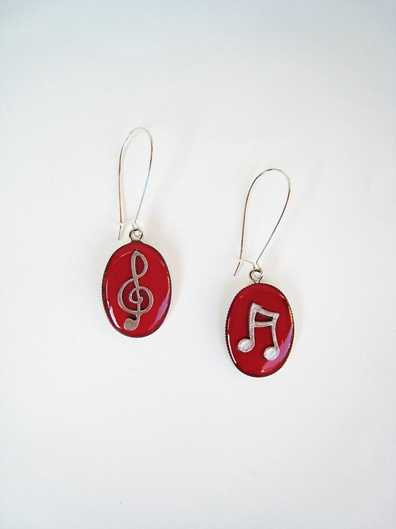 Music earrings, treble clef music note earrings, red resin earrings, musician jewelry, jazz rock dance - music teacher gift, long earrings