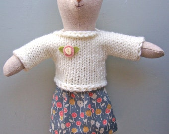 Knit Sweater and Skirt PDF knitting and sewing pattern, simple knit, stuffed animal clothes, doll clothes, sewing pattern