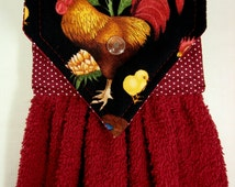 Rooster Hanging Hand Towel, Handmade Rooster Hand Towel, Rooster Kitchen, Farmhouse Kitchen, Gift for Mom, Maroon Hand Towel, Rooster Decor