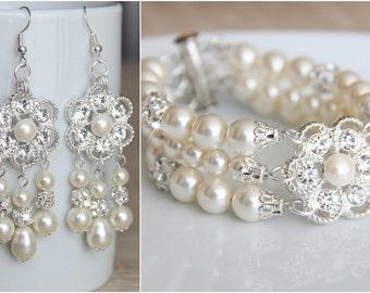 Wedding Jewelry Set, Swarovski Ivory Pearl Bridal Jewelry Set, Earrings Bracelet Set, Free shipping art. e34-b28