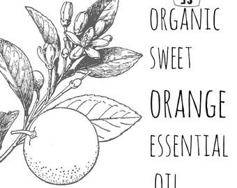 Sweet Orange Essential Oil - Organic Orange Essential Oil - Organic Essential Oil - Organic Aromatherapy - Organic Orange Oil
