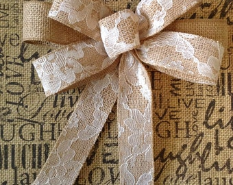 Burlap Wedding Decor Bows / Burlap White Lace Bows - / Wedding Bows / set of 6 / Handmade and  Design with Two different wired ribbon