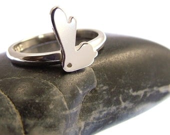 Sterling Silver Bunny Rabbit Ring - Stacking Ring - Bunny Jewellery - Rabbit Jewellery - Animal Ring