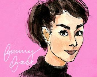 Fashion Illustration Art Print: Audrey Hepburn in Funny Face