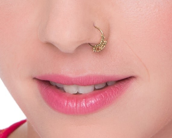 unique nose ring solid gold nostriil jewelry by studiomeme