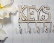 KEYS Hook-You Pick Color / Wall Hook/ Home Decor/ Key Rack/SSLID0127/Iron Wall Hook / Shabby Chic Decor / Decorative Hook/ Housewarming Gift