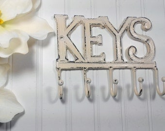 KEYS Hook-You Pick Color / Wall Hook/ Home Decor/ Key Rack/SSLID0127/Iron Wall Hook / Shabby Chic Decor / Decorative Hook/ Housewarming Gift