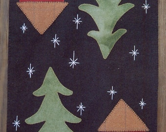 Wool Penny Rug e-Pattern Home for the Holidays Cat Under Pine Tree in Snowy Cabin Scene