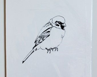 Limited edition house sparrow bird screenprint in black and white