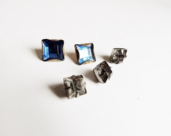 5 Antique Buttons Cut Glass Blue and Clear