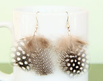 Spotted Feather Dangle Earring
