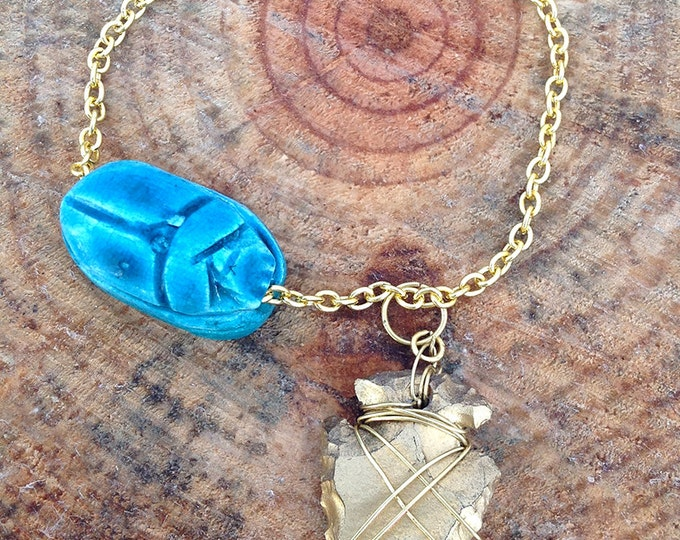 Handmade Festival Bracelet, Boho, Tribal, Arrowhead, Scarab, Beetle, Egyptian, Sexy, Celebrity, Ceramic, Native (Subtle Change Bracelet)