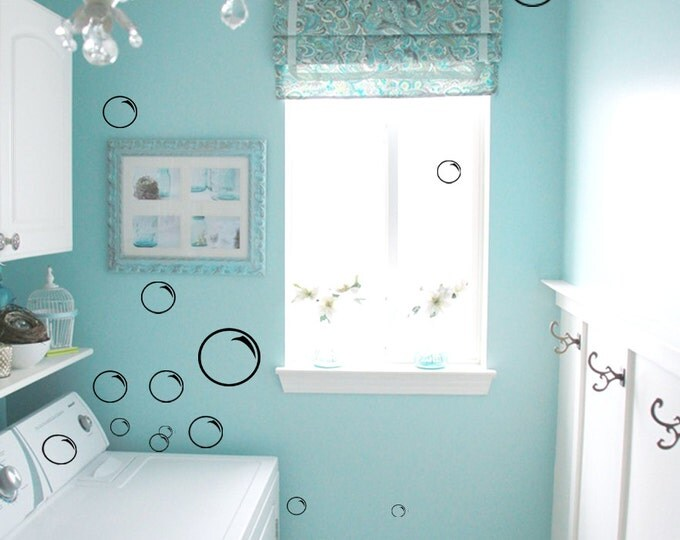 BIG set of 105 outline Bubble Soap bath Wall Decal Vinyl sticker home bathroom family mirror funny laundry room