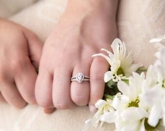 pear cut halo engagement ring promise ring wedding ring split shank small ring 12 carat sterling silver - Teardrop Wedding Ring