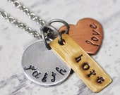 Faith hope love - Hand stamped charm necklace - Mixed metal inspirational jewelry