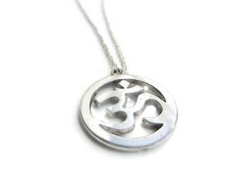 Ohm necklace, Om necklace, spiritual jewellery, silver necklace UK, silver jewellery UK