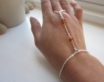 Slave bracelet, silver hand chain, hand jewellery, finger chain, amber bracelet, jewellery uk