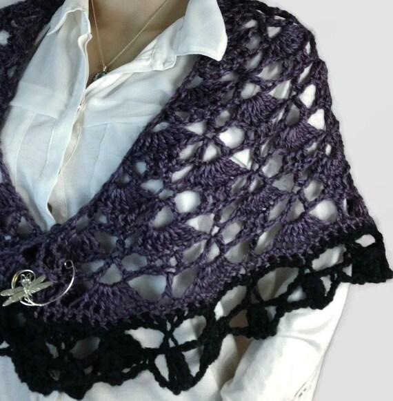Outlander Claire Shawl Wrap Purple Scottish Thistle Crocheted Black Fraser Diana Gabaldon Goth Steampunk Crocheted FREE SHIPPING