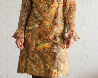 Robe des années 1960 imprimé cachemire