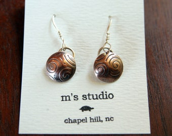 Round Copper and Silver Earrings - Handmade - MADE TO ORDER