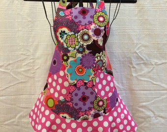 Child apron pink/purple floral and polka dots (size large)