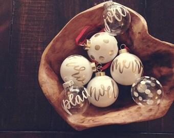 custom christmas calligraphy porcelain ornament // white