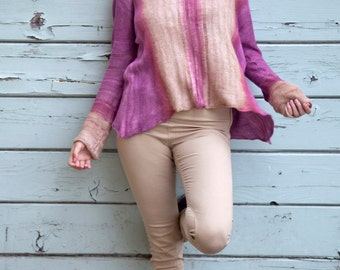 GRACE: Silk Golden Hour Hand Dyed Drop-Stitch Long Sleeve Striped Sweater, LARGE (L)