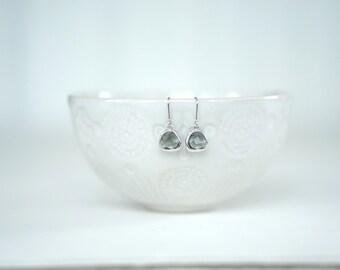 Dark Grey Gem and Silver Dangle Earrings
