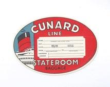 CUNARD LINE Vintage 1957 Stateroom Luggage Trunk Label - Unused with Gum Back