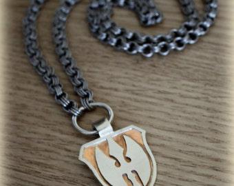 Sleepy Hollow Hessian Horseman pendant/ necklace (alpaca, titanium & copper) Tim burton dragon logo headless horseman