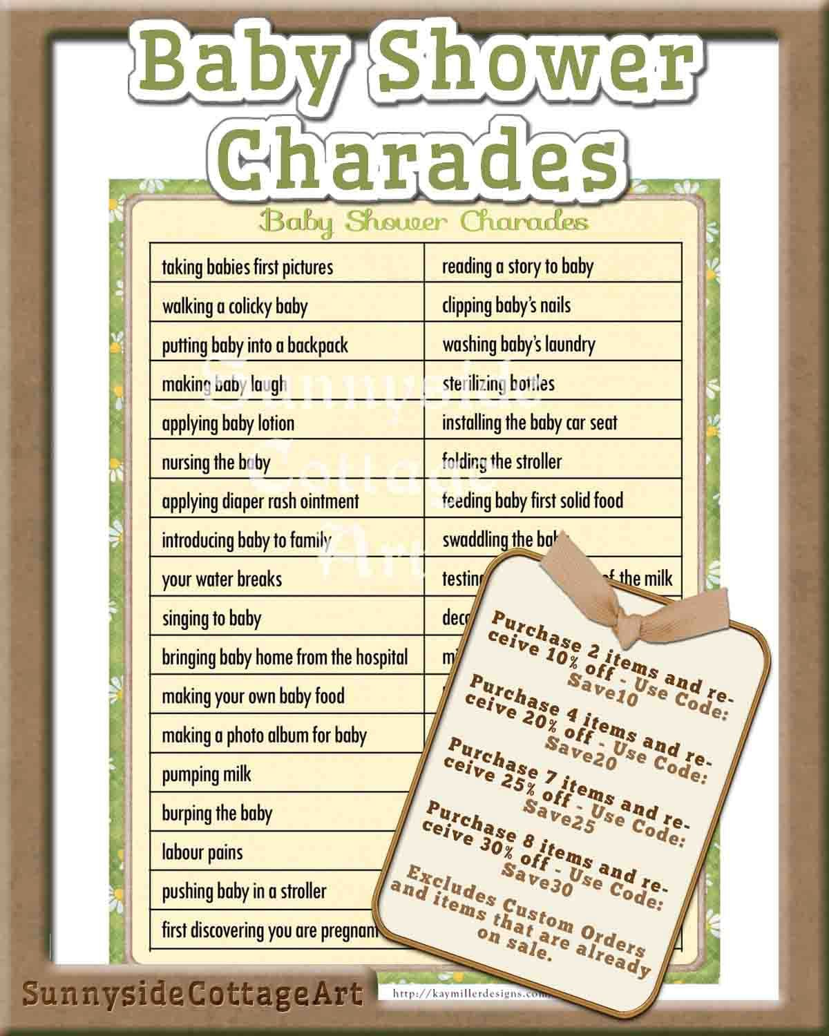 Baby Shower Charades Game Printable Baby By