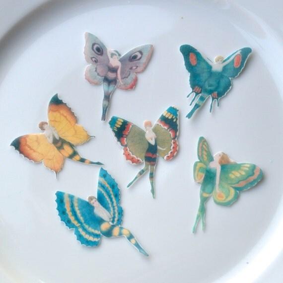 Edible Cake Decorations Fairies : Edible Flapper Butterfly Fairies x24 Small Mixed Colours ...