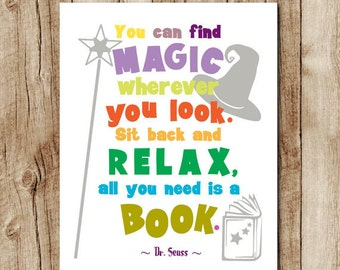 Dr Seuss quote print, kids room decor, dr seuss wall art, dr seuss printable, playroom decor, homeschool, reading quotes, instant download