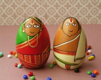 People of India - Tamil Iyengar Golu Handpainted Wooden Peg Doll