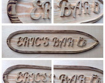 Wood Carved Sign,  Custom Bar Sign, Business Sign, Wooden Wall Decor.