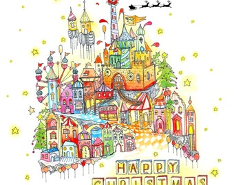 Happy Christmas card featuring a very jolly Christmas town