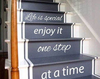 Wall Decals Quote Life Is Special Enjoy It One Step At A Time Staircase Decal Stairway Art Stairs Vinyl Sticker Interior Design Decor KG739