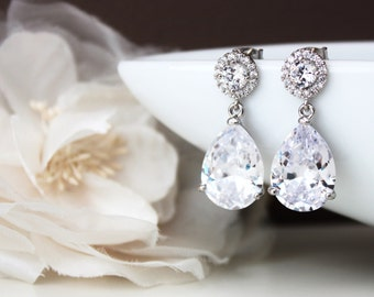Crystal Bridal Earrings Crystal Wedding Earrings Large Teardrop Earrings Cubic Zirconia Earrings Bridal Jewelry
