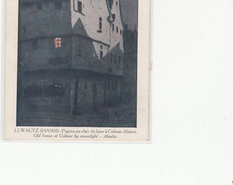 JJ Waltz Hansi French Artist Magical Old Home And The Night Sky C1910 Colmar Alsace France Postcard