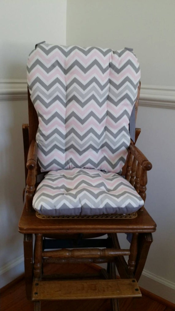 Pink U0026 Gray Chevron High Chair Cushions High Chair Pads High
