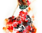Flamenco Dancer Watercolor Painting Art Print, Dance Abstract Modern Watercolour Art