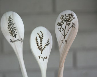 Dill, Rosemary, Thyme Herb wooden spoons - Housewarming, Mom, Wife, Gardening Gift, Graduation - set of three woodburned spoons
