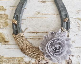 ON SALE Shabby Chic Horseshoe, Burlap and Light Gray Flower, Wedding Gift, Housewarming Gift, Western Wall Hanging, Good Luck Horseshoe