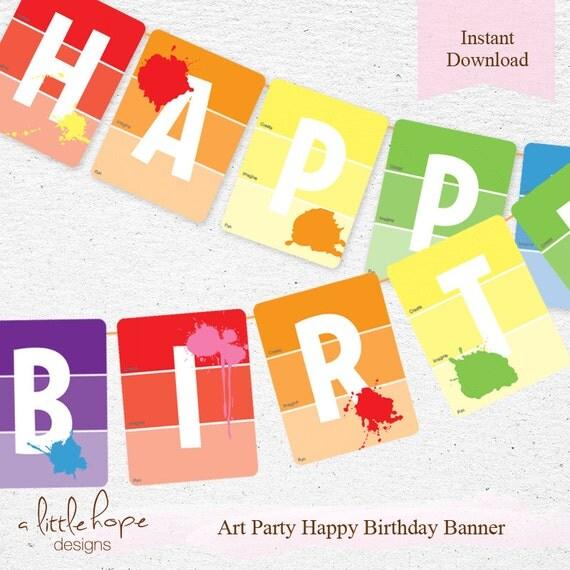 Art Party Happy Birthday Banner / Happy Birthday Pennant / DIY