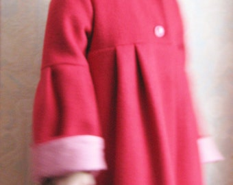 Little Red Riding Hood cloak / girl in red wool coat / hooded winter jacket / coat custom and son riding