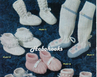 Baby bootees booties shoes knee boots knitting pattern PDF Newborn-3 months 3.5 inch foot DK and 3 Ply - PDF instant download